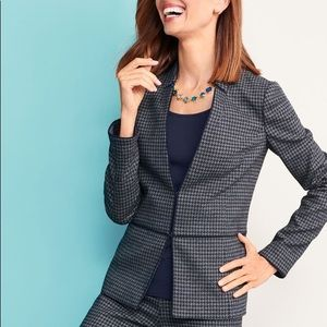 Talbots Stretch Houndstooth Tweed Jacket 8P NWT